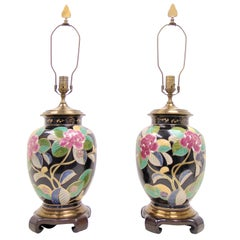 Pair of Hand Painted Ceramic Floral Urn Style Table Lamps by Wildwood Lamps