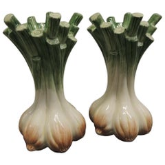 Pair of Hand Painted Ceramic Onions Candlesticks