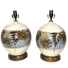 Pair of Hand-Painted Ceramic Table Lamps