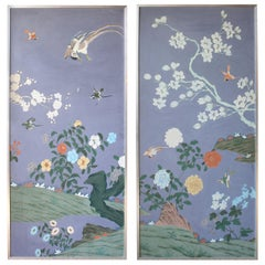 Pair of Hand Painted Chinese Wallpaper Panels