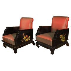 Pair of Hand-Painted Chinoiserie Armchairs