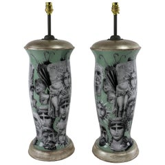 Pair of Hand Painted Declamania Fornasetti Style Lamps