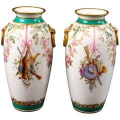 Pair of Hand Painted English Trophy Vases, Minton