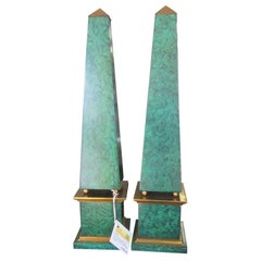 Pair of Hand Painted Faux Malachite Obelisks