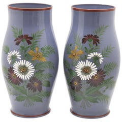 Pair of Hand Painted Floral Vases with Unusual Lavender Background, circa 1915