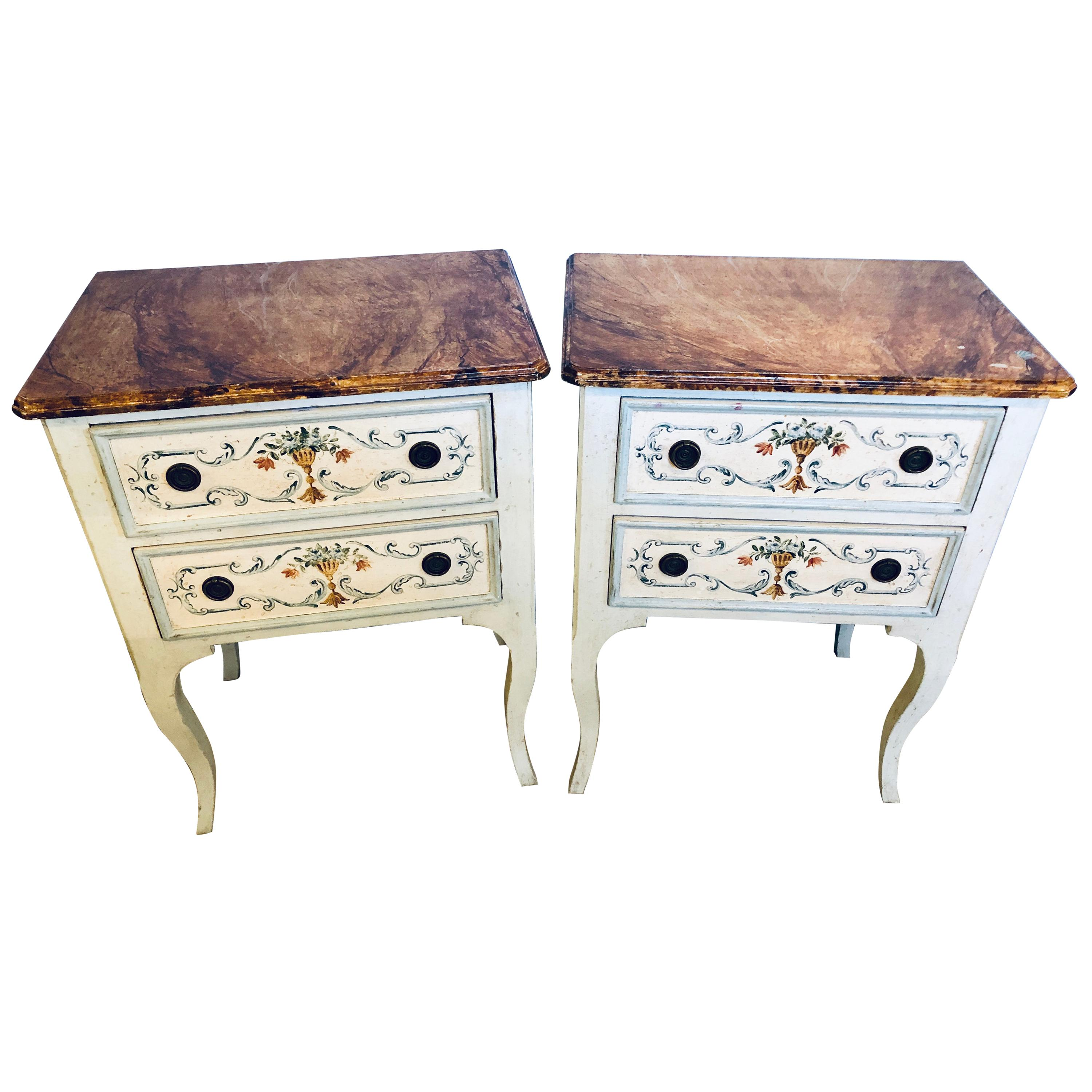 Pair of Hand Painted French Provincial End/Side or Night Stand Tables, Faux Top