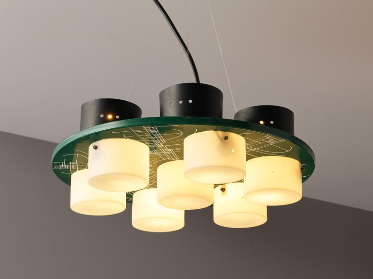 Pair of Hand-Painted Italian Chandeliers with Six Shades For Sale 4