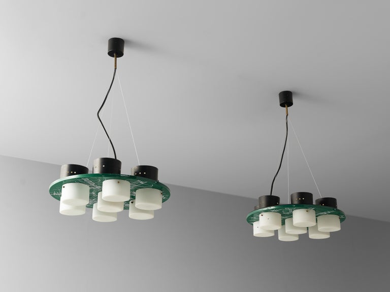 Pair of Hand-Painted Italian Chandeliers with Six Shades For Sale 6