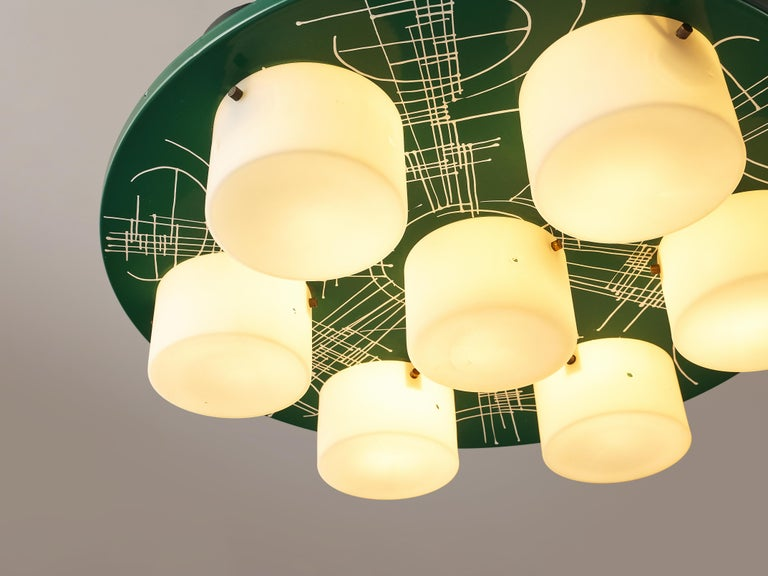 Post-Modern Pair of Hand-Painted Italian Chandeliers with Six Shades For Sale