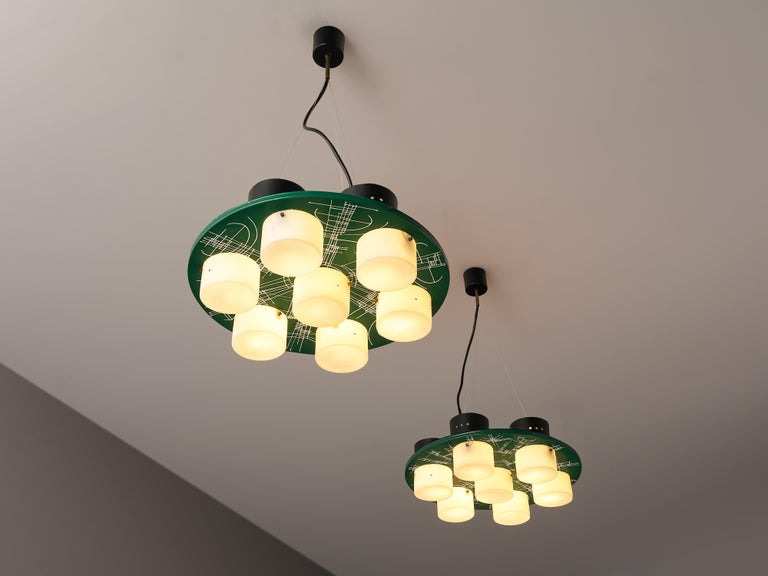 Metal Pair of Hand-Painted Italian Chandeliers with Six Shades For Sale