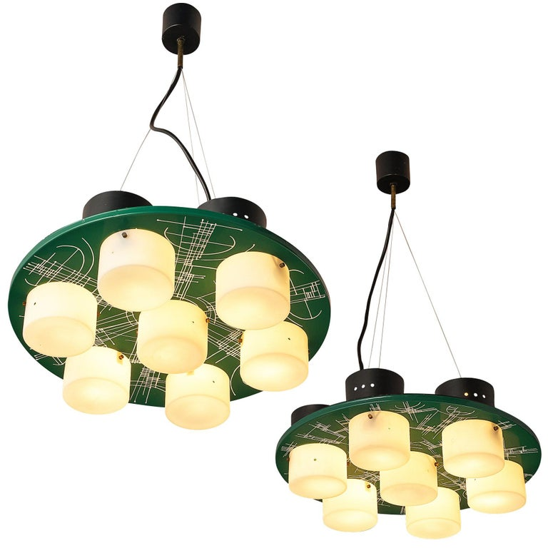 Pair of Hand-Painted Italian Chandeliers with Six Shades For Sale