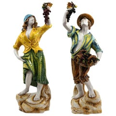 Pair of Hand Painted Italian Pottery Figures