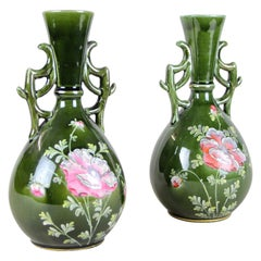 Pair of Hand Painted Majolica Vases by J. B. De Bruyne, France, circa 1915