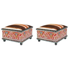 Pair of Hand Painted Moroccan Low Seat, Foot Stools, Ottomans