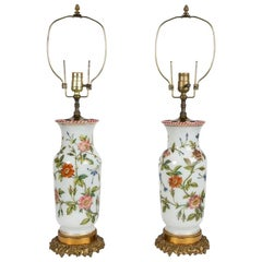 Pair of Hand Painted Opaline Vase Lamps Made in France Newly Electrified
