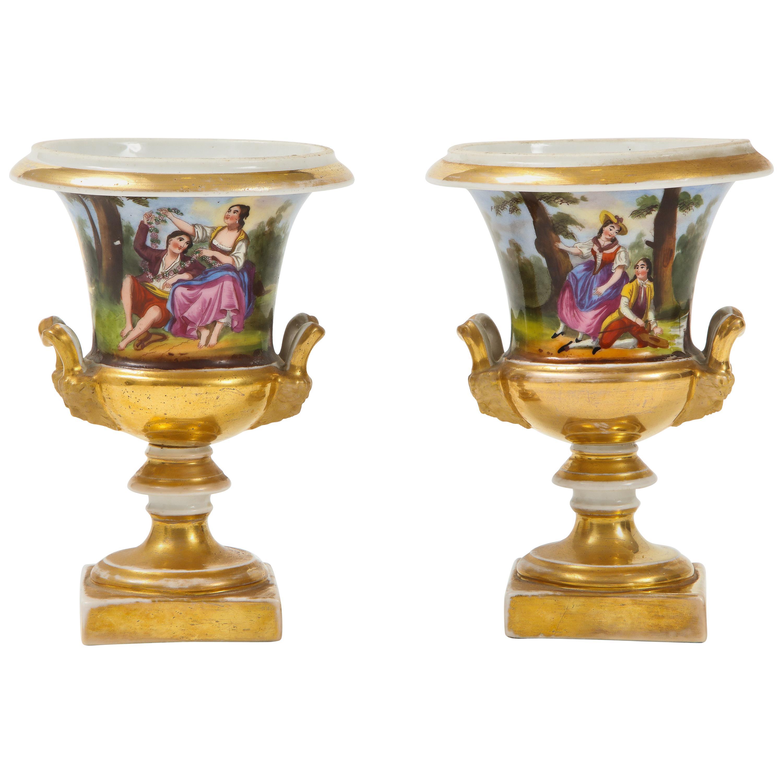 Pair of Hand Painted Porcelain Cache Pots