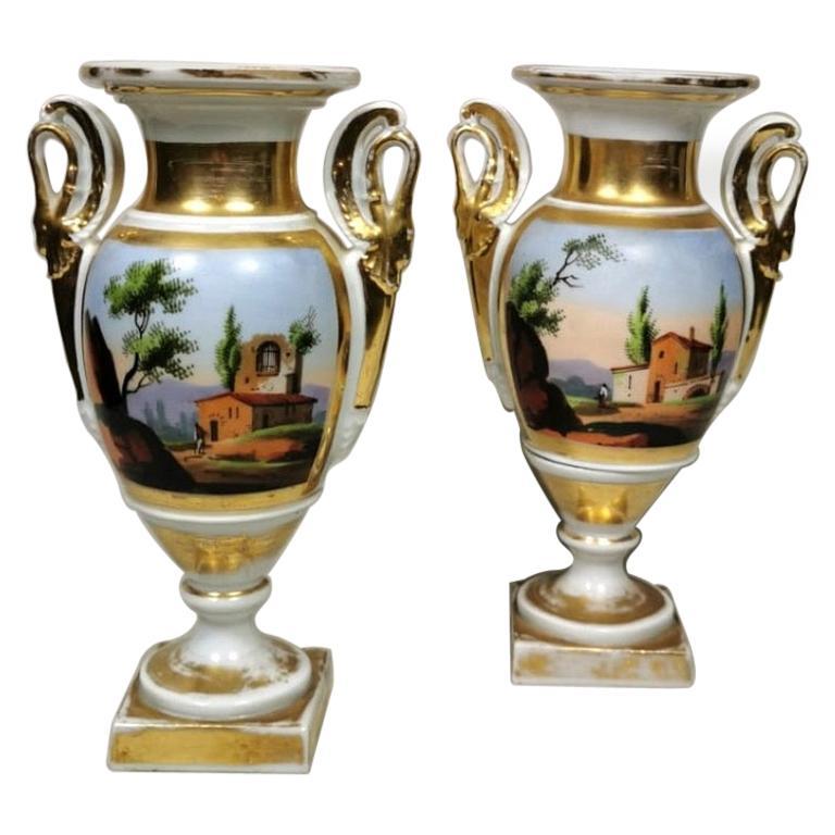 Porcelain de Paris Pair of Hand Painted  Vases Napoleon III France