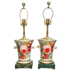 Pair of Hand Painted Porcelain Floral Lamps