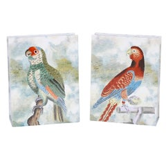 Pair of Hand-Painted Porcelain Parrot Vases