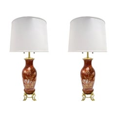 Pair of Hand Painted Porcelain Table Lamps, French, 1960s