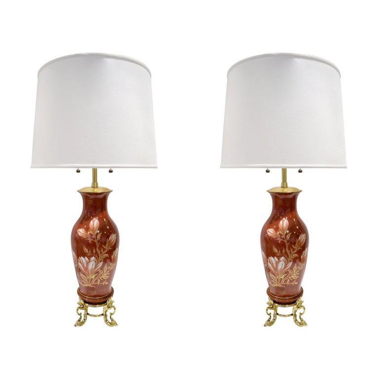 Pair of Hand Painted Porcelain Table Lamps, French, 1960s For Sale