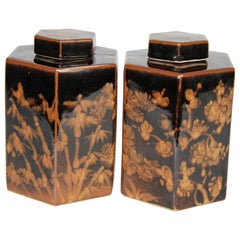 Pair of Hand Painted Porcelain Tea Caddies with Floral and Bamboo Motifs