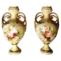 20th Century Napoleon III Style French Pair of Hand Painted Porcelain Vases