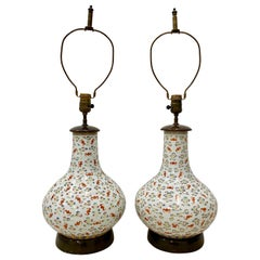 Pair of Hand Painted Qing Dynasty 100 Bats Porcelain Vase Table Lamps circa 1920