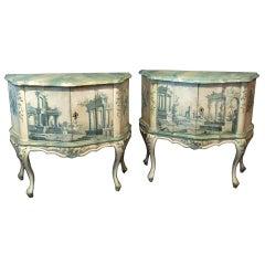 Pair of Hand Painted Serpentine Shaped Venetian Pine Cabinets, circa 1960