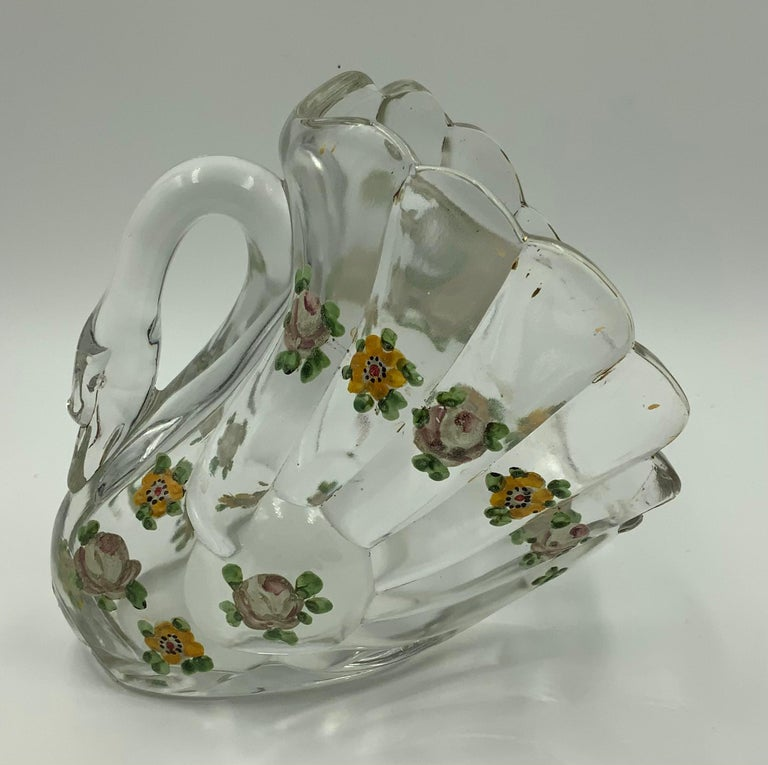 Pair of Hand Painted Swan Depression Glass Vases Planters Bread Serving Baskets For Sale 7