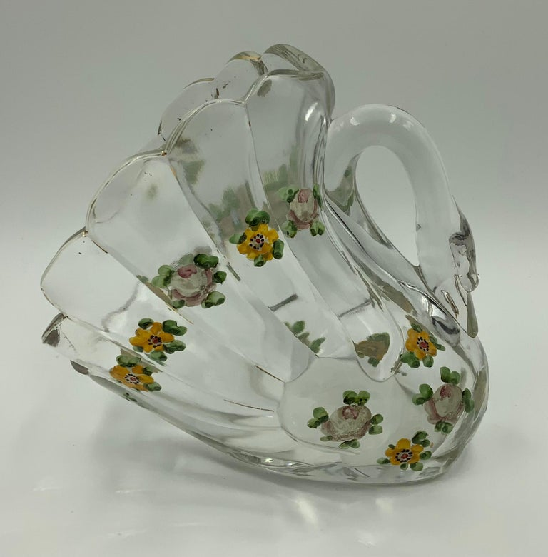 Pair of Hand Painted Swan Depression Glass Vases Planters Bread Serving Baskets For Sale 8