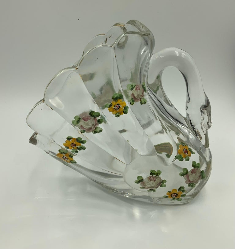 Pair of Hand Painted Swan Depression Glass Vases Planters Bread Serving Baskets For Sale 12