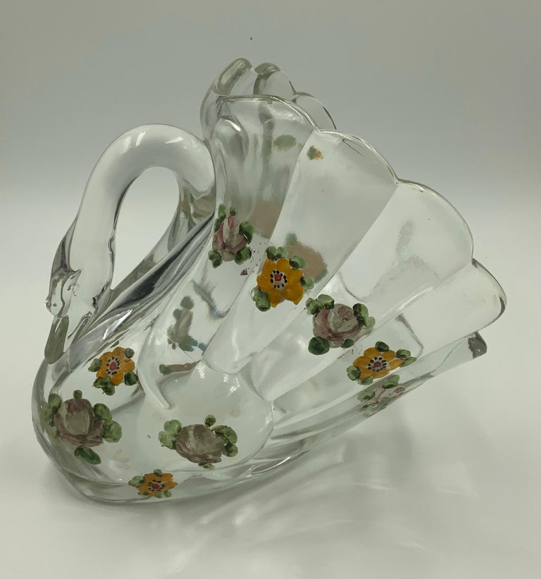 Pair of Hand Painted Swan Depression Glass Vases Planters Bread Serving Baskets For Sale 13