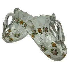 Pair of Hand Painted Swan Depression Glass Vases Planters Bread Serving Baskets