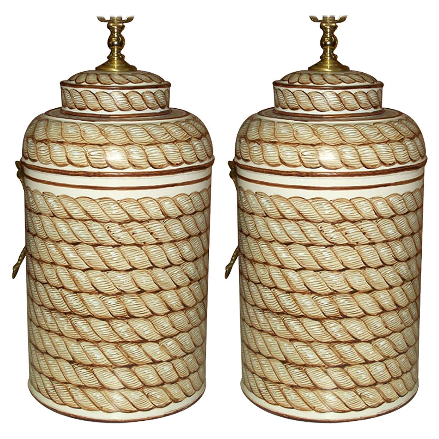 Pair of Hand Painted Tole Canister Lamps