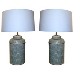 Pair of Hand Painted Tole Canister Table Lamps