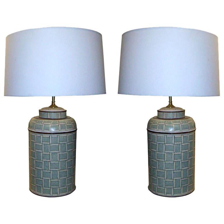 Pair of Hand Painted Tole Canister Table Lamps For Sale