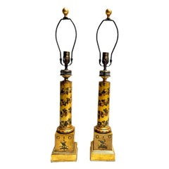 Pair of Antique French Tole Table Lamps