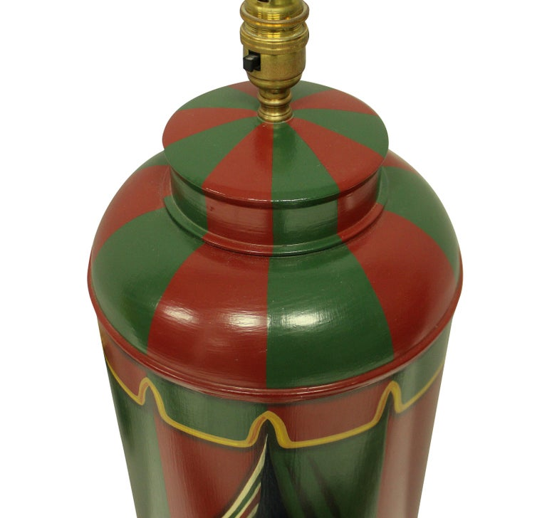 Pair of Hand Painted Toleware Lamps In Good Condition In London, GB