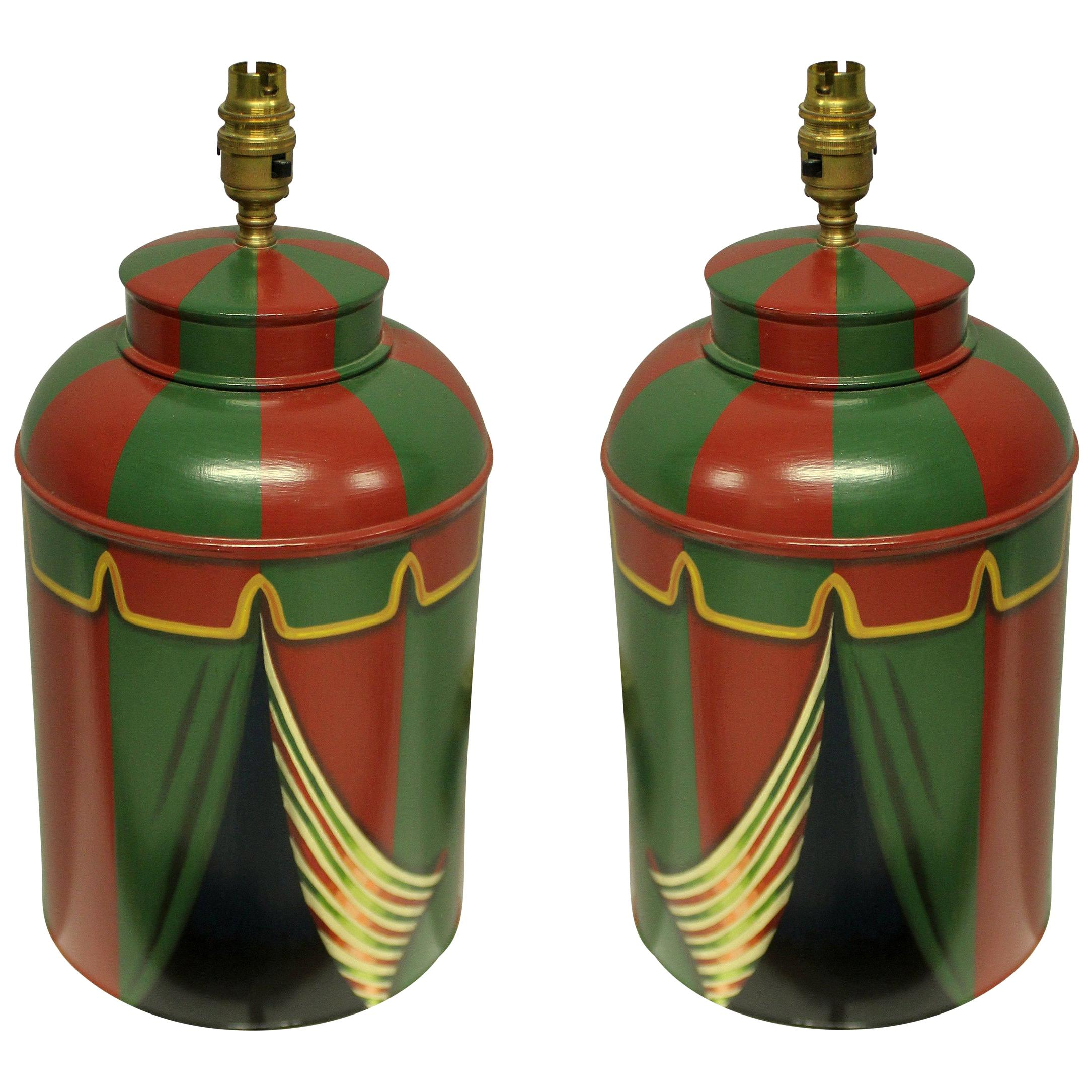 Pair of Hand Painted Toleware Lamps