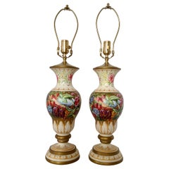 Pair of Hand Painted Urns Mounted as Table Lamps