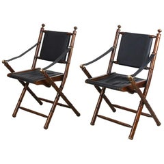 Pair of Hand-Stitched Leather and Faux-Bamboo Campaign Folding Chairs, 1920s