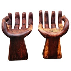 Pair of Hand Wooden Stools, Spain, 1960s