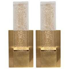 Pair of Handblown Murano Glass & Brushed Brass Sconces with 24-Karat Gold Flecks