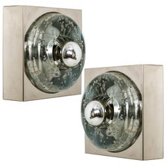 Pair of Handblown Wall or Ceiling Lights, Doria, 1970