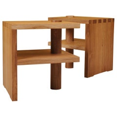 Pair of Handcrafted Architectural Oak Tables