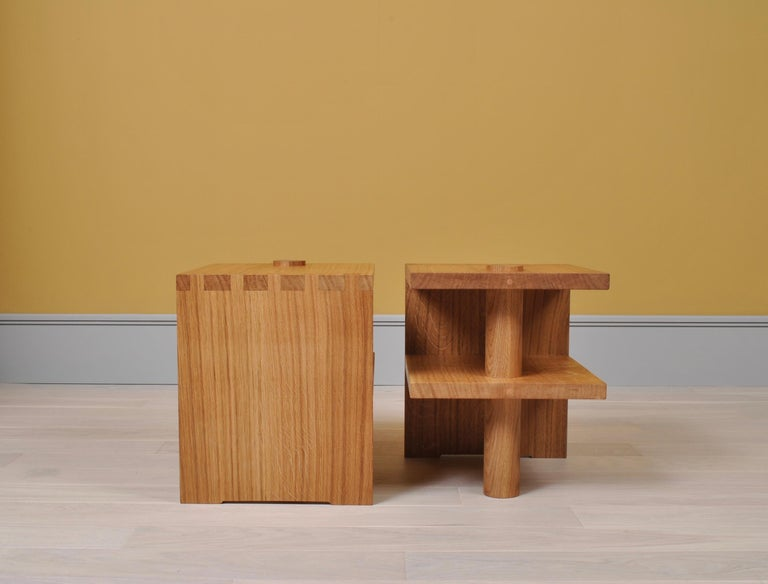 Pair of Handcrafted Architectural Oak Nightstands In New Condition For Sale In London, GB
