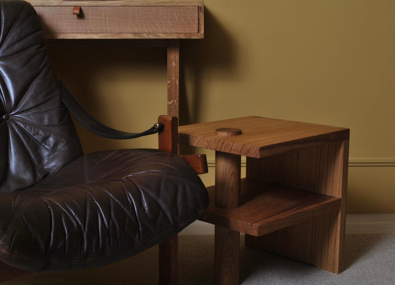 Hand-Crafted Pair of Handcrafted Architectural Oak Nightstands For Sale