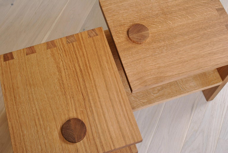 Pair of Handcrafted Architectural Oak Nightstands For Sale 4