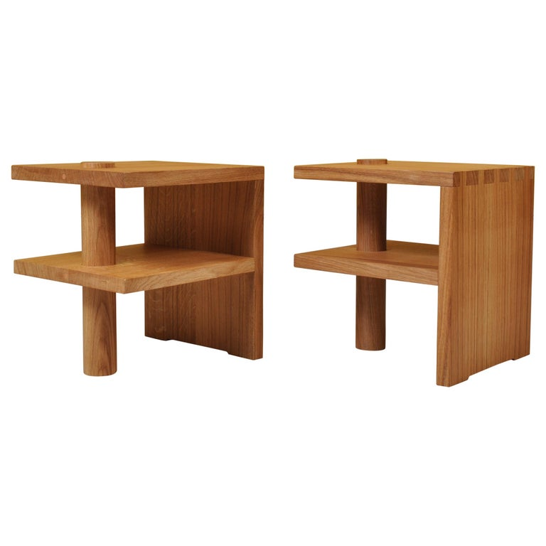 Pair of Handcrafted Architectural Oak Nightstands For Sale